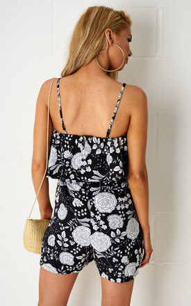 Rosyie Floral Overlay Playsuit In Black by Frontrow Limited