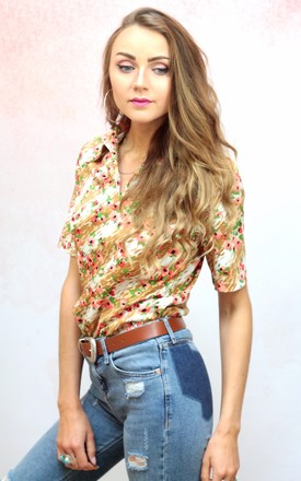 1970s vintage brown and cream floral blouse by Colour Me Vintage