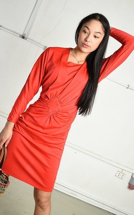 Vintage 80s minimalist Paris chic midi dress in red by Lover