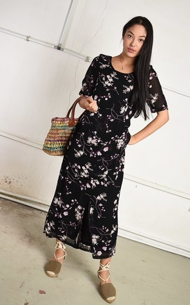Vintage 90s Paris chic maxi dress in black with floral print by Lover