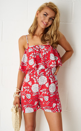 Rosyie Floral Overlay Playsuit In Red by Frontrow Limited