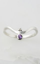 Holi Jewel Silver V Stacking Gemstone Ring in Amethyst by Charlotte's Web