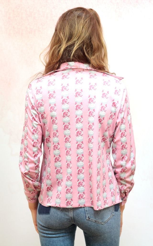 1970s vintage pink button up blouse by Colour Me Vintage