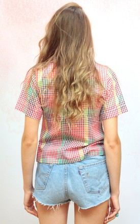 1970s vintage mutlicoloured gingham button up blouse by Colour Me Vintage