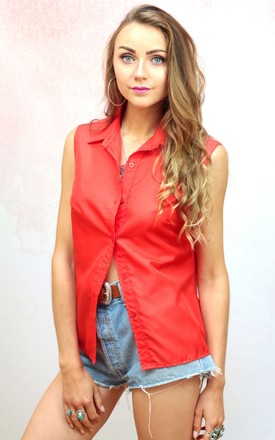 1970s vintage red sleeveless button up blouse by Colour Me Vintage