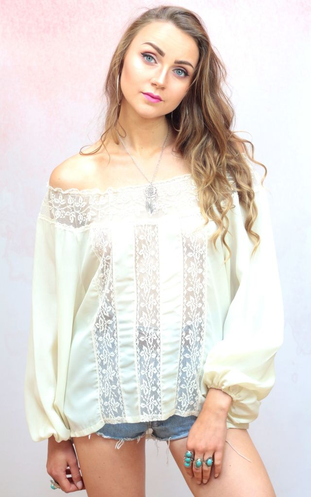 1970s vintage cream off the shoulder lace blouse by Colour Me Vintage
