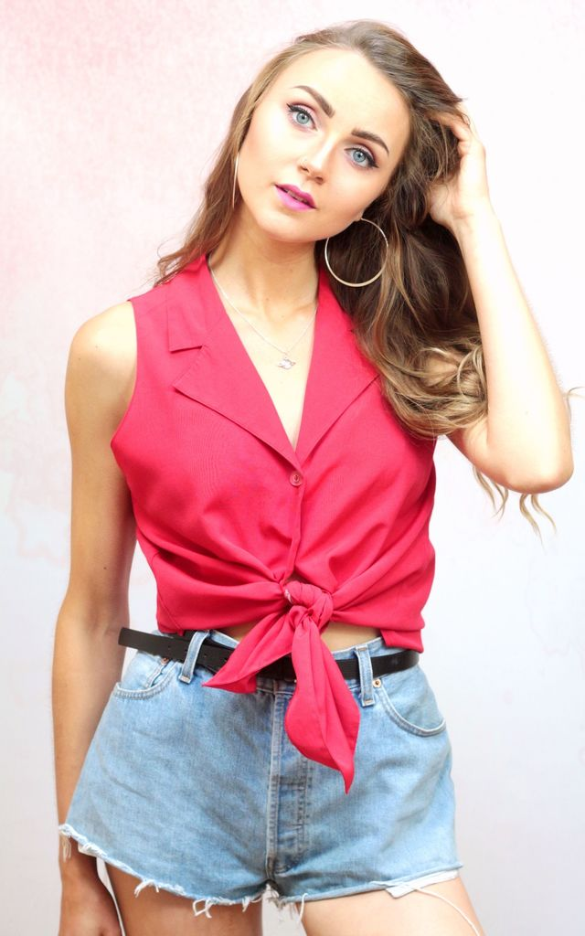1980s vintage red sleeveless button up blouse by Colour Me Vintage