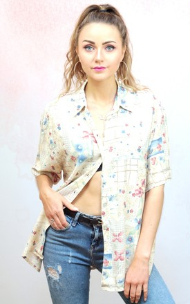 1990s vintage cream floral blouse by Colour Me Vintage