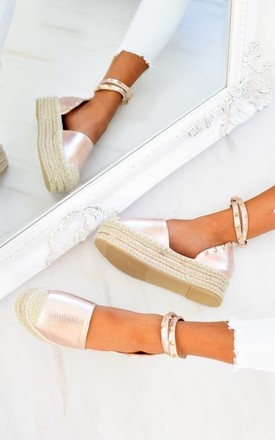 Flatform Studded Espadrille Sandals - Rose Gold by AJ | VOYAGE