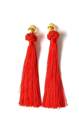 Long Red Tassel Knot Clip-On Earrings by Olivia Divine Jewellery