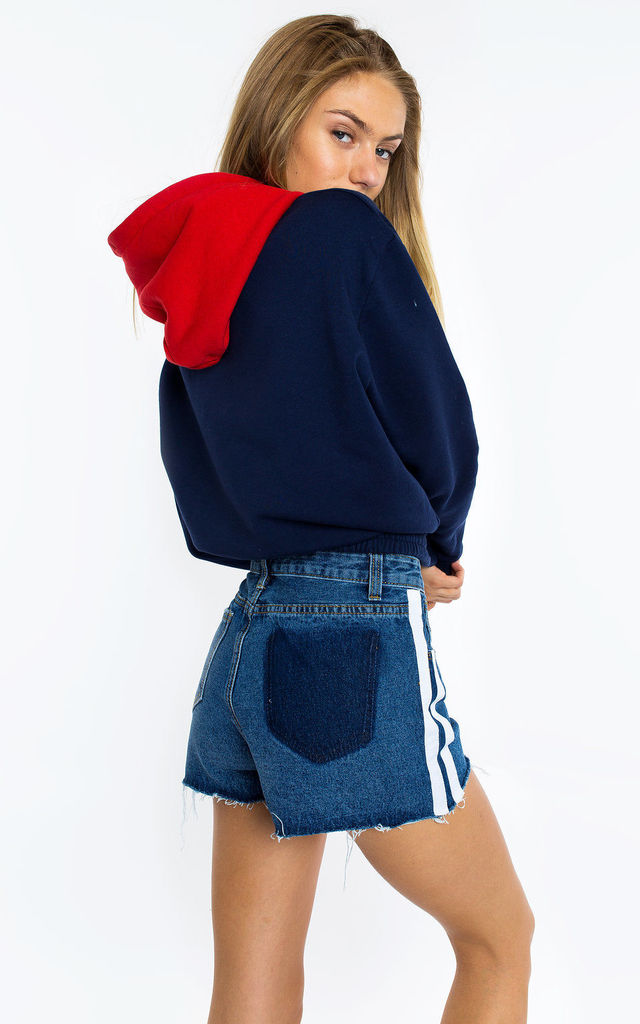 SPORT STRIPE DENIM SHORTS by Momokrom
