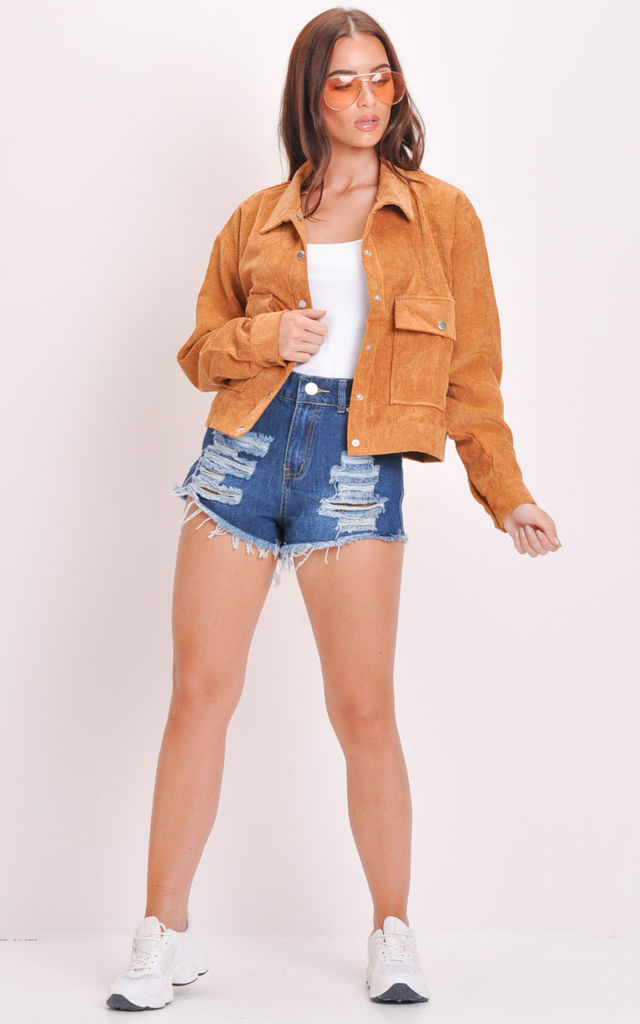 Cord Button Through Crop Trucker Jacket Brown by LILY LULU FASHION
