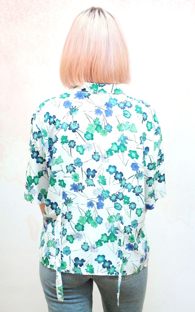 1990s vintage white and green floral print blouse by Colour Me Vintage