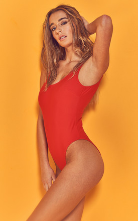 Halley Red scoop swimsuit by Wolf & Whistle