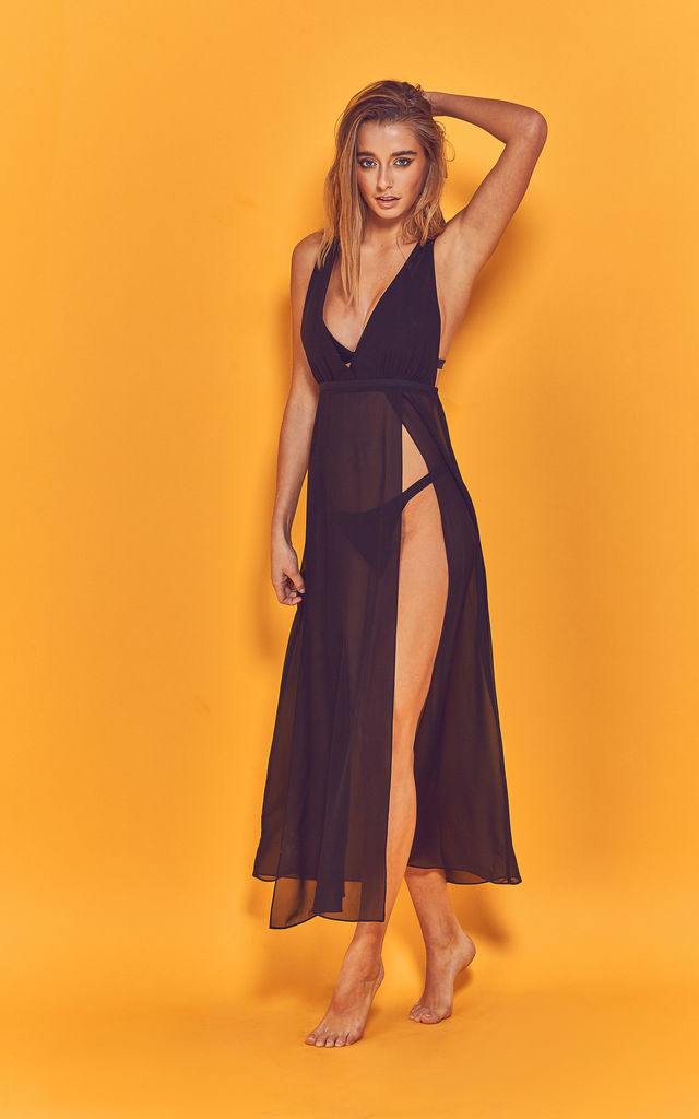 Karissa cross back beach dress black by Wolf & Whistle
