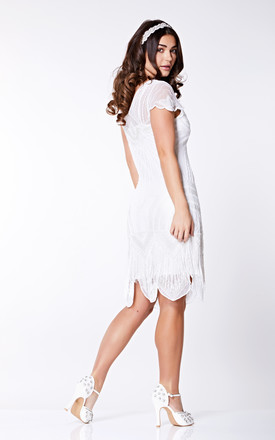 Beatrice Fringe Flapper Dress in White by Gatsbylady London