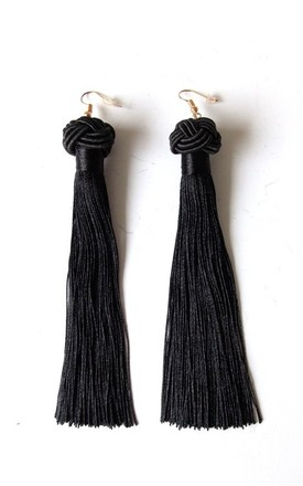 Long Black Tassel Knot Pierced Earrings by Olivia Divine Jewellery Product photo