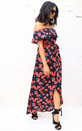 Poppy & Star Print Frill Off The Shoulder Bardot Maxi Dress With Wrap Skirt In Red & Black by One Nation Clothing Product photo