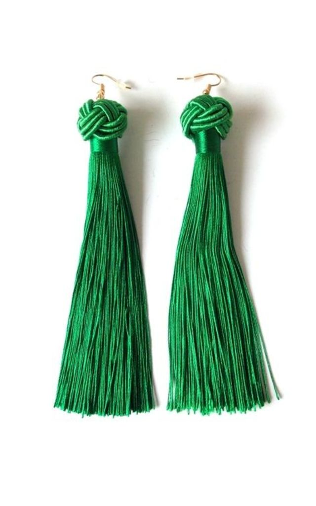 Long Green Pierced Tassel Knot Earrings by Olivia Divine Jewellery