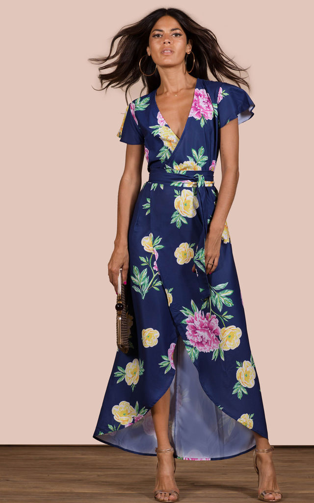 CAYENNE DRESS IN NAVY BASE PEONY image