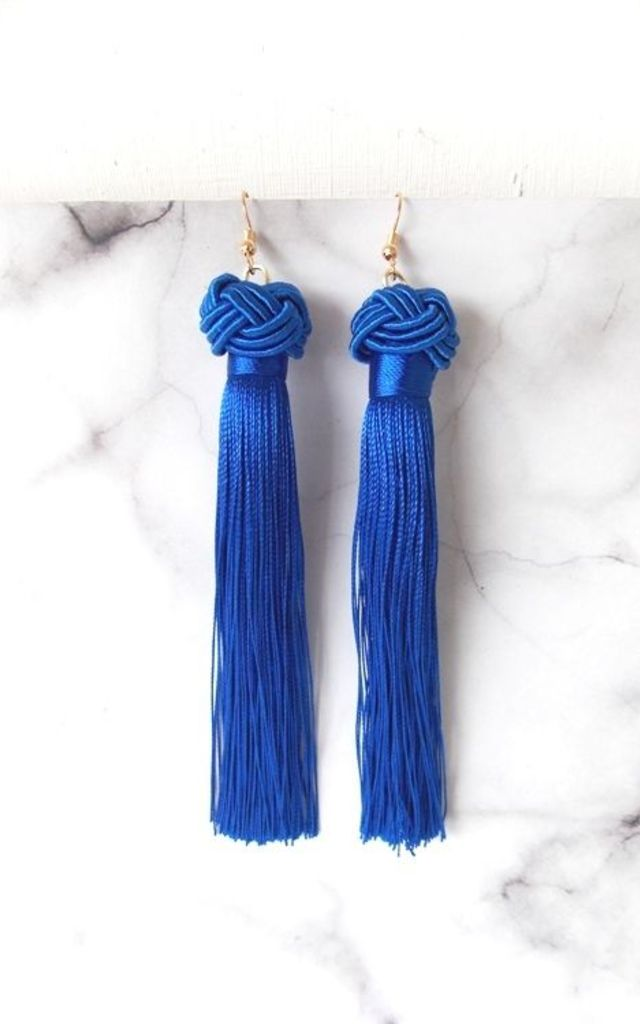 Long Royal Blue Pierced Tassel Knot Earrings by Olivia Divine Jewellery