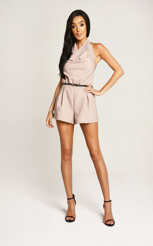 Mocha Halter Neck Playsuit by Lady Flare