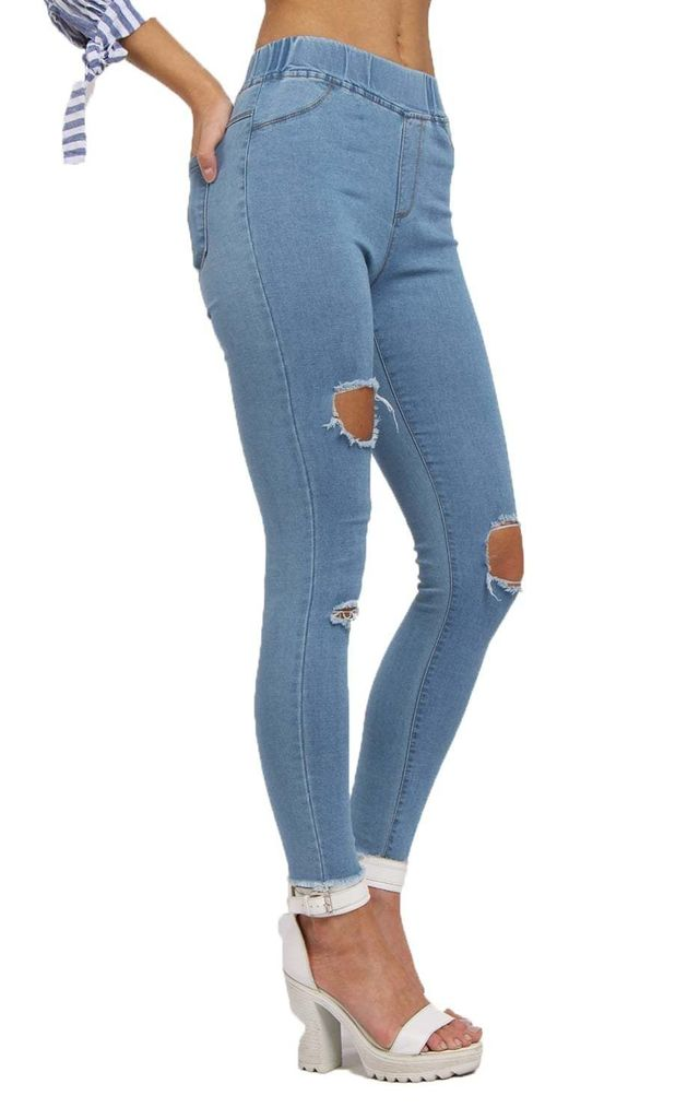 Bleach High Waisted Super Ripped Skinny Denim Jeggings Jean by Urban Mist