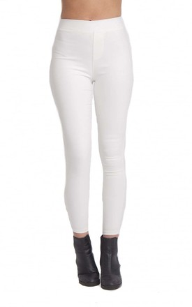 White Thick Skinny Stretch Jean Leggings by Urban Mist