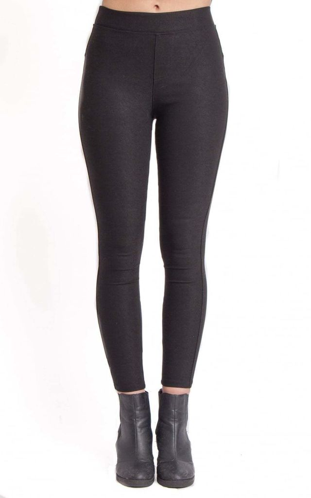 Black Thick Skinny Stretch Jean Leggings by Urban Mist