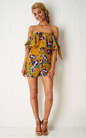Dita Yellow Floral Print Bardot Playsuit by Frontrow Limited