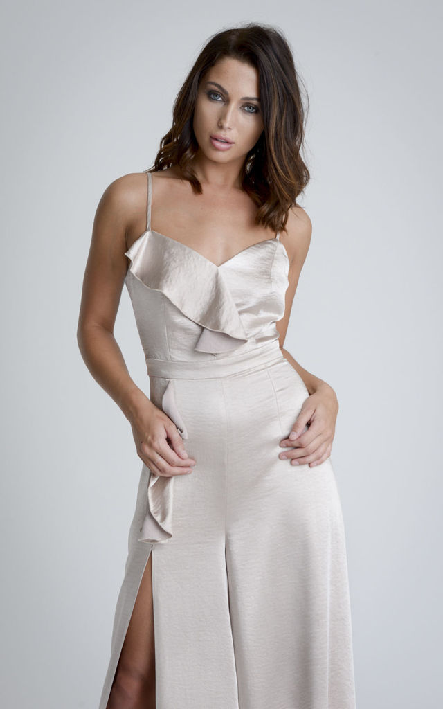 ff627a0de Frill Front Satin Jumpsuit | The Girlcode | SilkFred