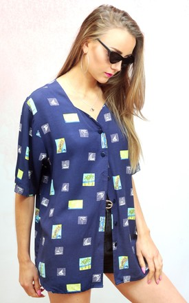 1990s vintage navy blue palm tree print blouse by Colour Me Vintage