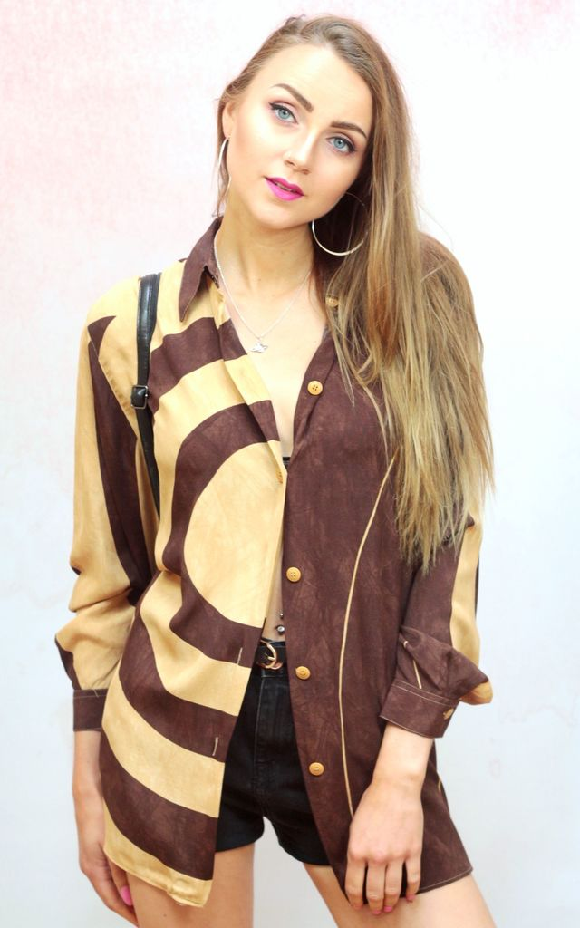 1990s vintage mustard and brown swirl patterned blouse by Colour Me Vintage