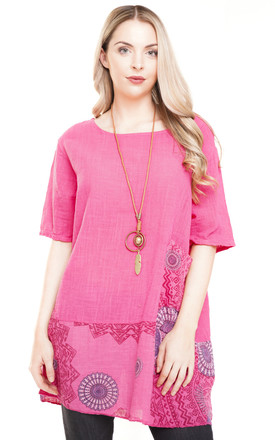 PINK OVERSIZED AZTEC PRINT TOP by Aftershock London