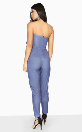 Halcyon Blue Frill Bardot Jumpsuit by Girls On Film