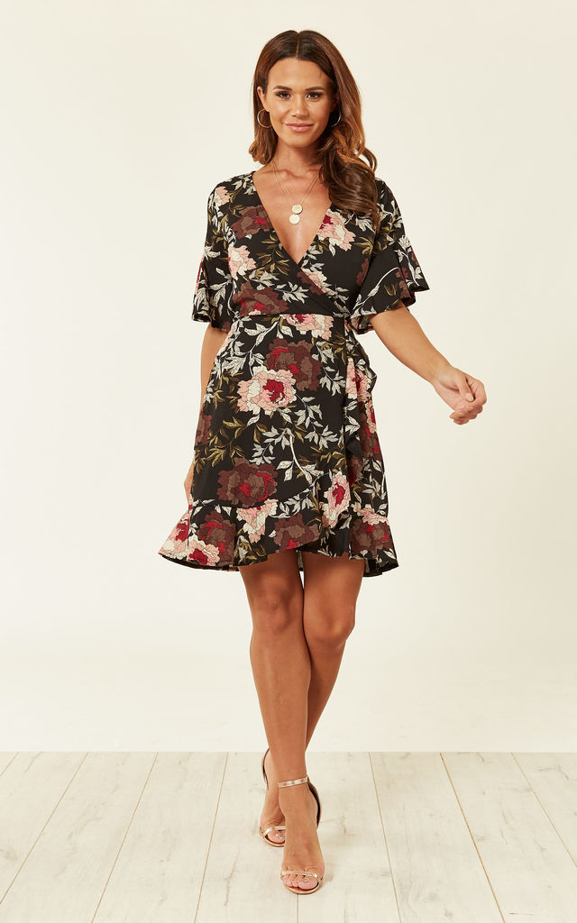 41dc345b Black Floral Wrap Front Frill Detail Dress | AX Paris | SilkFred