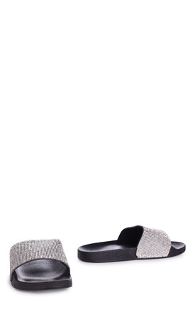 Coco Black Slip On Diamante Strap Sliders by Linzi