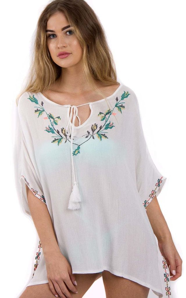 White  Floral Embroidery Trim Kaftan Top with Tassel Tie by Urban Mist