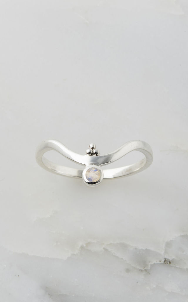 Holi Jewel Silver V Stacking Gemstone Ring in Moonstone by Charlotte's Web