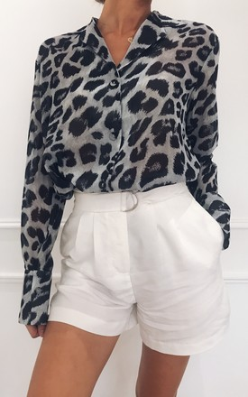 Amara Chiffon Shirt   Grey Leopard Print by Pretty Lavish Product photo