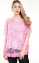 Pink Oversized Lace Overlay Short Sleeved Top by Aftershock London