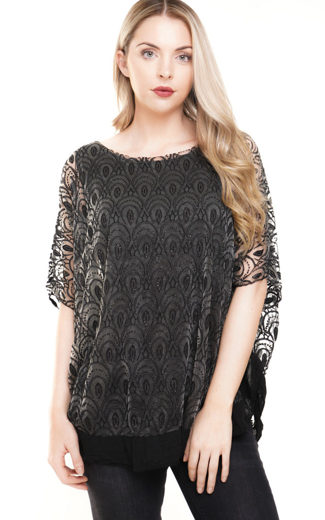 Black Oversized Lace Overlay Short Sleeved Top (Variant) by Aftershock London