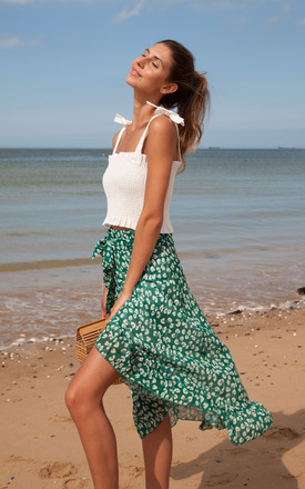 Green Floral Frill Wrap Midi Skirt by Styled In London Product photo