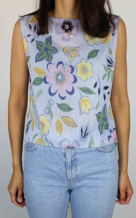 Vintage Floral Plisse Crinkle Crop Top by Re:dream Vintage