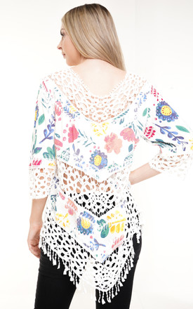 White Crochet Panel Floral Print Oversized Top by Aftershock London