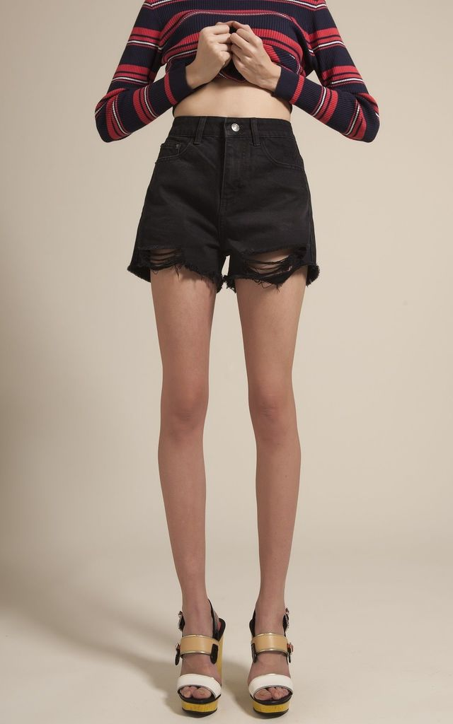 DISTRESSED BLACK DENIM SHORTS by Momokrom