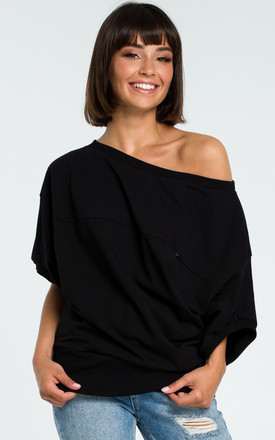Black Oversized Cold Shoulder Blouse by MOE Product photo
