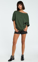 Green Oversized Cold Shoulder Blouse by MOE