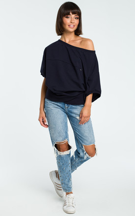 Navy Blue Oversized Cold Shoulder Blouse by MOE