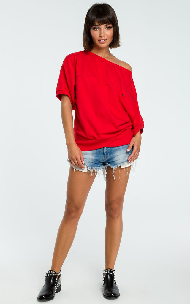 Red Oversized Cold Shoulder Blouse by MOE